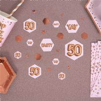 Glitz & Glamour Pink & Rose Gold Confetti Scatters 50th (100)